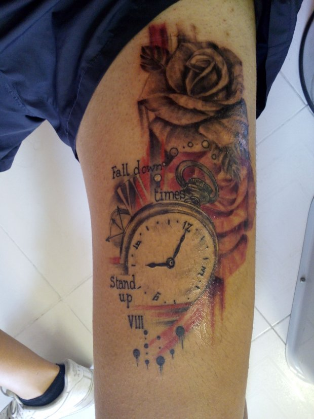 Fall Down 7 Times Stand Up 8 Two Roses Tatuagemcom